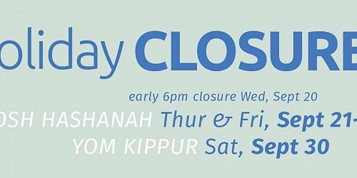Rosh Hashanah Facility Closure